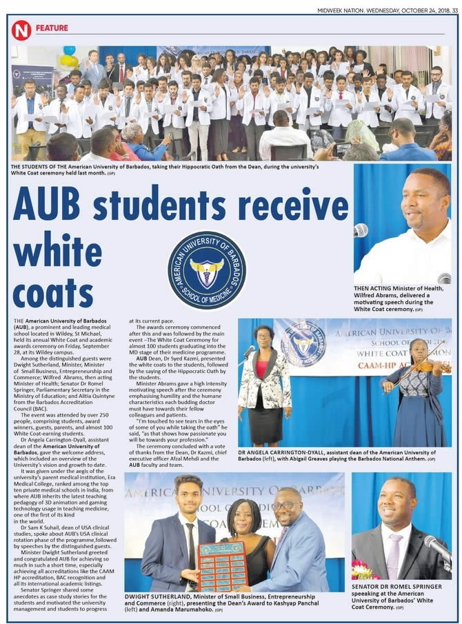 WHITE COAT CEREMONY OF THE AMERICAN UNIVERSITY OF BARBADOS COVERED BY MIDWEEK NATION NEWS